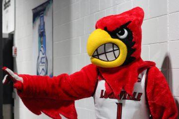 Louie the Cardinal Louisville vs. Duke 3-9-2017 Photo by Mark Blankenbaker TheCrunchZone.com