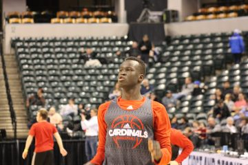 Deng Adel Louisville Basketball Open Practice NCAA 1st Round 3-16-2017 Photo by Mark Blankenbaker