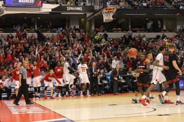 Bench Celebration Louisville vs. Michigan Banker's Life Field House Indianapolis NCAA 1st Round 3-19-2017 Photo by Mark Blankenbaker