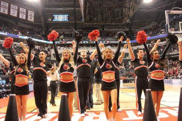 Cheerleaders Louisville vs. Jacksonville State Banker's Life Field House Indianapolis NCAA 1st Round 3-16-2017 Photo by Mark Blankenbaker