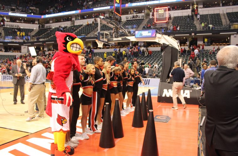 Louie the Cardinal with Cheerleaders Louisville vs. Jacksonville State Banker's Life Field House Indianapolis NCAA 1st Round 3-16-2017 Photo by Mark Blankenbaker