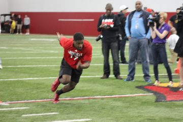 James Quick Louisville Football Pro Day 3-30-2017 Photo by Mark Blankenbaker, TheCrunchZone.com
