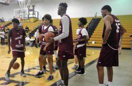 Malik Williams, Darius Perry, Lance Thomas 4-13-2017 Photo by Daryl Foust TheCrunchZone.com