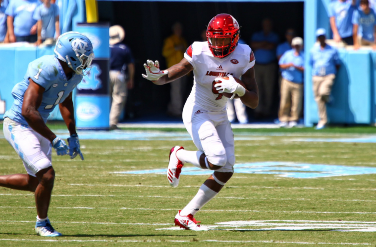 Jaylen Smith Touchdown Louisville Football vs. North Carolina 9-9-2017 Photo by Cindy Rice Shelton, TheCrunchZone.com