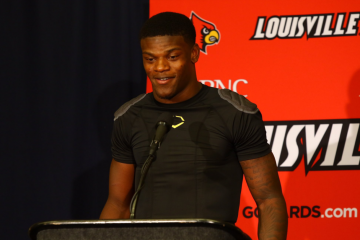 Lamar Jackson Post-Game Press Conference Louisville vs. Purdue 9-2-2017 Photo by William Caudill, TheCrunchZone.com