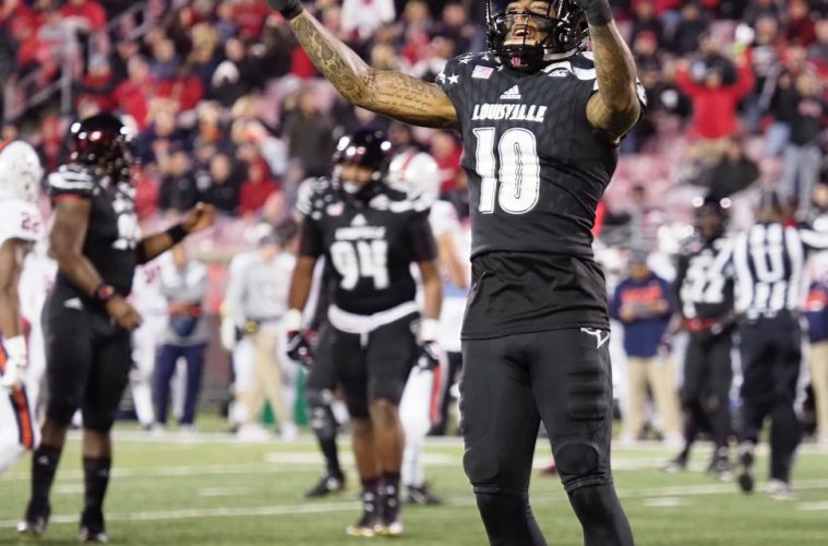 Jaire Alexander Louisville Football vs. Virginia by Cindy Rice Shelton, 11-11-2017, TheCrunchZone.com