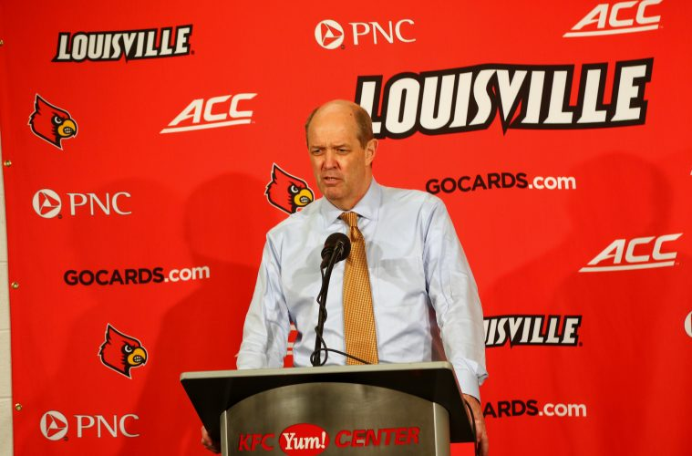 Kevin Stallings Louisville vs. Pittsburgh 1-2-2018 Photo by William Caudill, TheCrunchZone.com