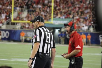 Bobby Petrino, Head Linesman Louisville vs. Alabama 51-14, 9-1-2018. Photo by Ashley Satterfield, TheCrunchZone.com