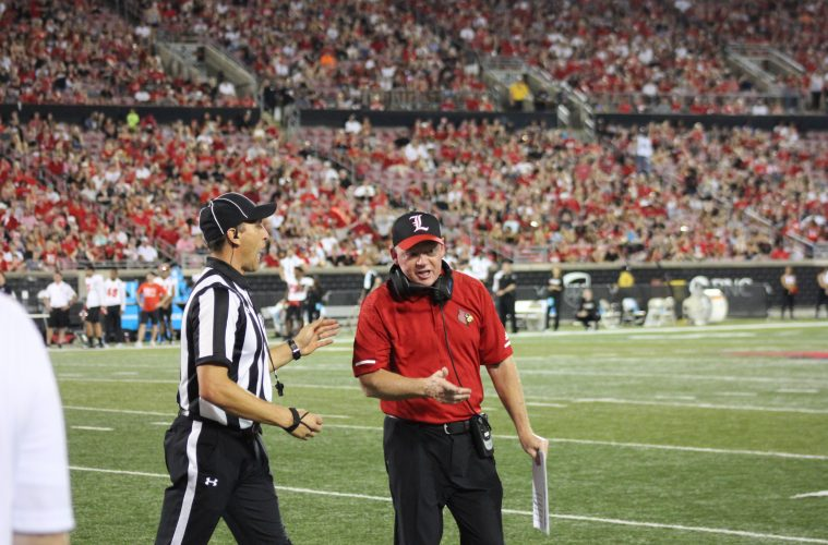 Bobby Petrino Louisville vs. Western Kentucky 9-15-2018 Photo by William Caudill, TheCrunchZone.com