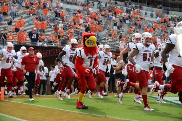 Entrance, Louie, Bobby Petrino Louisville vs. Virginia 9-22-2018 Photo by Austin Sullivan, TheCrunchZone.com