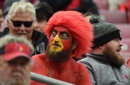 Gary the Redbird Louisville vs. Wake Forest 10-27-2018 Photo by Austin Sullivan TheCrunchZone.com
