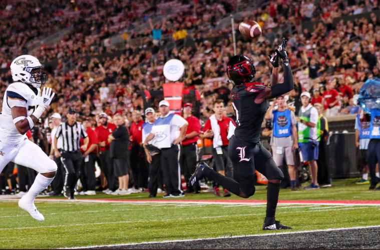Tutu Atwell TD Louisville vs. Georgia Tech 10-5-2018 Photo by William Caudill, TheCrunchZone.com