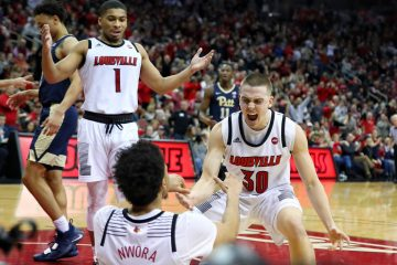 Jordan Nwora, Ryan McMahon, Christen Cunningham Louisville vs. Pitt Post-Game 1-26-2019 Photo by William Caudill, TheCrunchZone.com