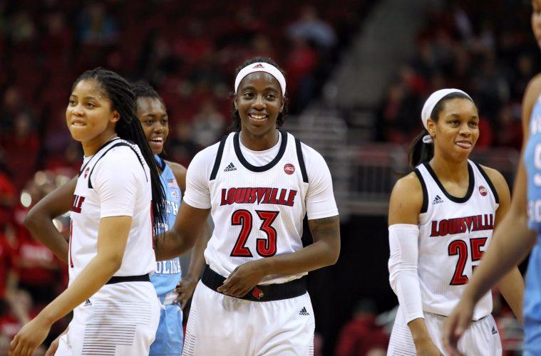 Arica Carter, Jazmine Jones, Asia Durr Louisville vs. North Carolina 1-3-2019 Photo by William Caudill, TheCrunchZone.com