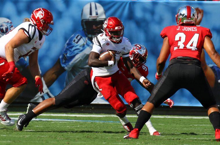 Malik Cunningham Louisville vs. Western Kentucky (WKU) 9-14-2019, Nissan Stadium, Nashville, TN. Photo by William Caudill TheCrunchZone.com