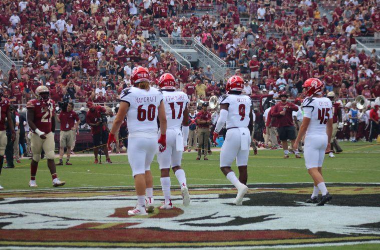Tyler Haycraft, Dorian Etheridge, CJ Avery, Blanton Creque Louisville vs. Florida State 9-21-2019 Photo by Mark Blankenbaker TheCrunchZone.com