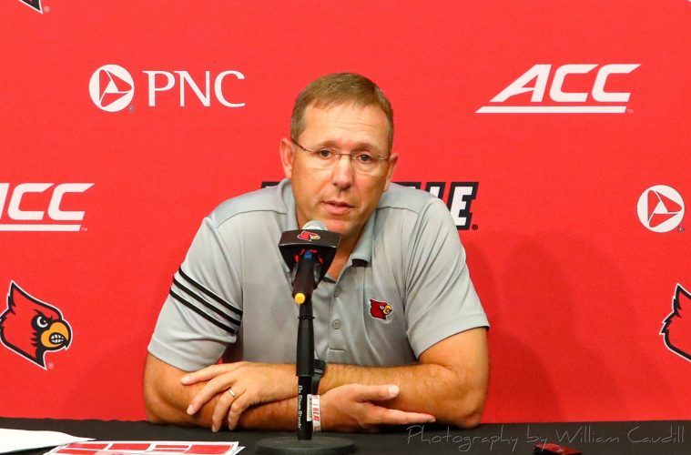 Scott Satterfield Pre-Louisville vs. Western Kentucky (WKU) 9-9-2019, Nissan Stadium, Nashville, TN. Photo by William Caudill TheCrunchZone.com