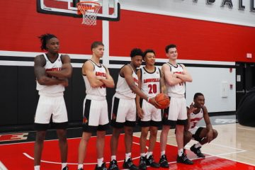 Super Six. Aidian Igiehon, Samuell Williamson, David Johnson, Josh Nickelberry, Quinn Slazinski, Jae'Lyn Withers Louisville Basketball Media Day 10-26-2019 Photo by Cindy Rice Shelton, TheCrunchZone.com