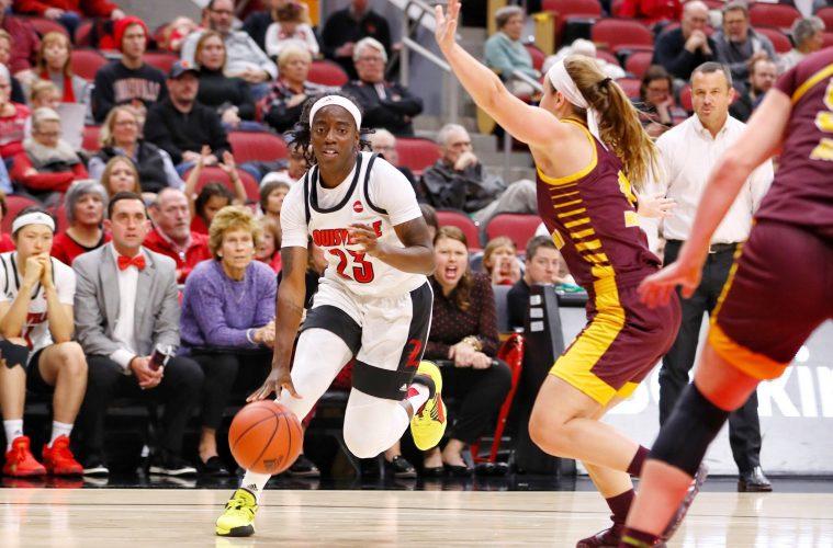 Jazmine Jones Louisville vs. Central Michigan 11-14-2019 Photo by William Caudill, TheCrunchZone.com